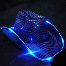 LED Flashing Cowboy Hat with Blue Sequins by Blinkee (Hat Cowboy Sequin)