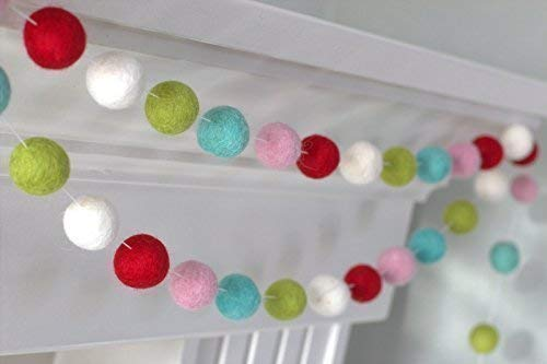 Red, White, Lime, Turquoise, Pink Felt Ball Garland- 1
