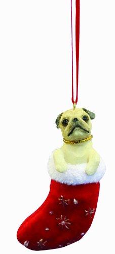 """Pug Christmas Stocking Ornament with """"Santa"""