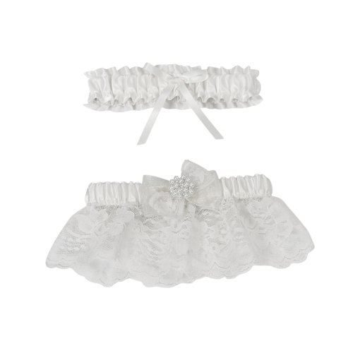 (Delilah Bridal Garter Set, White)