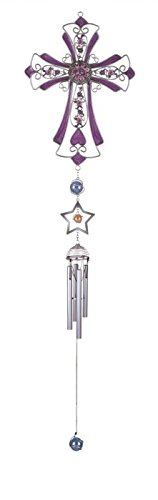 StealStreet Wind Chime Pewter And Gem Cross Hanging Garden Porch Decor