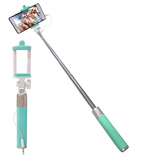 Universal Wired Selfie Stick for iPhone Samsung Galaxy Huawei LG Xiaomi Redmi Google Pixel OnePlus ZTE Motorola, Aeeque Silicone Handle Mini Selfie Stick with Button [NOT Bluetooth Control], Green