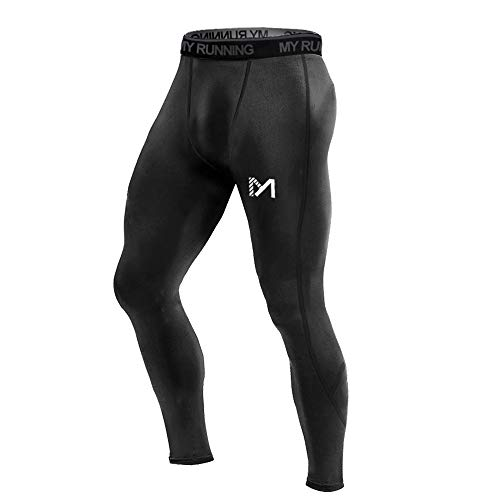 MEETYOO Men's Compression Pants, Cool Dry Long Base Layer Leggings, Sport Fitness Underwear Tights (Black, Large)