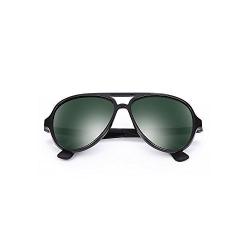 2020Ventiventi Mens Aviator Shiny Black Frame/Green Lens Oval 53mm Metal Temple UV400 Polarized Double Bridge Sunglasses