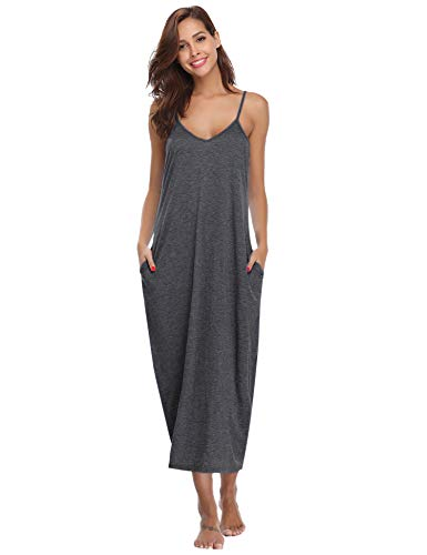 Aibrou Women's Cotton V Neck Long Nightgown Sleeveless Full Slip Night Dress (Dark Gray, XX-Large)