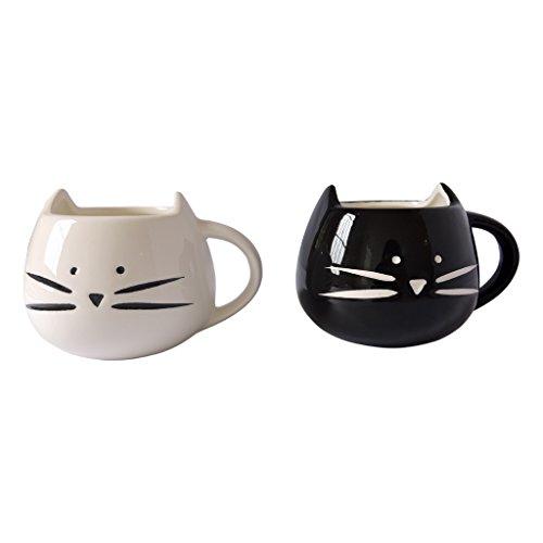 300ml Lovely Cute White Cat Coffee Milk Ceramic Mug Cup Christmas Birthday Best Gift (1, White)