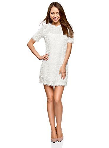 oodji Ultra Mujer Vestido Recto de Pelo Blanco (1200n)