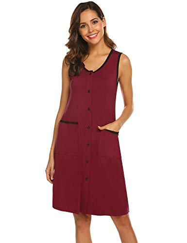 Ekouaer Women's Soft Nightgown Classic Scoop Neck Sleep Shirt Sleeveless Summer Sleepwear (Wine Red,XL)