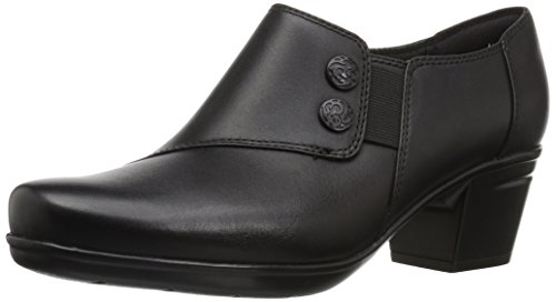 Clarks Women's Emslie Vendel Slip-on Loafer, Black Leather, 7.5 M US