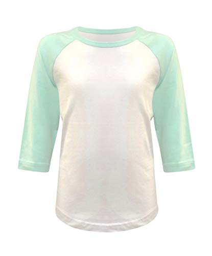 (Kids Baseball Raglan T-Shirt 3/4 Sleeve Infant Toddler Youth Athletic Jersey Sports Casual (10+ Colors) (2T, White/Mint))