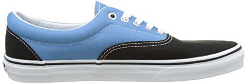 Vans Unisex Era Skate Shoes, Classic Low-Top Lace-up Style in Durable Double-Stitched Canvas and Original Waffle Outsole Black/Cendre Blue