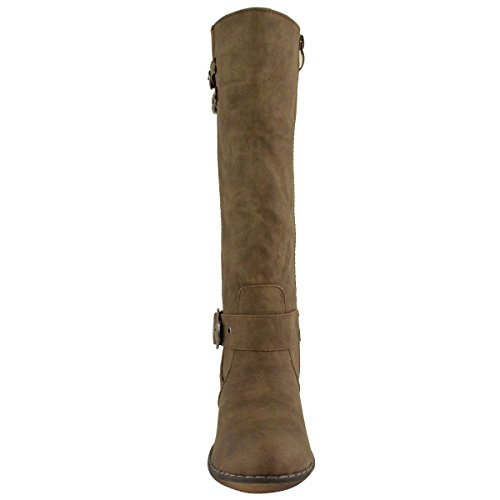 Fashion Thirsty Womens Wide Leg Knee High Mid Calf Block Heel Riding Boots Stretch Shoes Size Brown Faux Leather Bsn5Rlbg