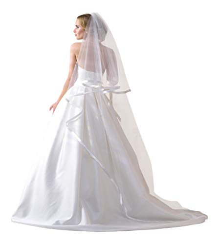 Lacey Bell Wedding 2-Tier Wide Ribbon Satin Edge Veil with Comb Chapel Length SV-132 Ivory
