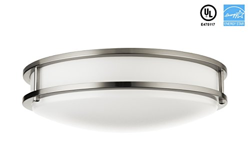 "Hyperikon LED Flush Mount Ceiling Light, 14"", 25W (100W equivalent), 1840lm, 4000K (Daylight Glow), 120° Beam Angle, 120V, UL and ENERGY STAR Listed, 14-Inch Flush Mount, Dimmable"