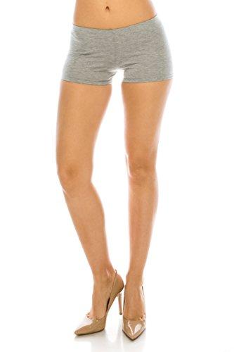 - CNC STYLE Women's Regular/Plus Soild Stretch Mini Dance Yoga Workout Underskirt Pant Cotton Booty Shorts Leggings Underwear (Large, Grey)