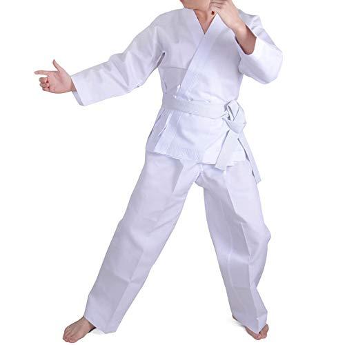 (HongH Taekwondo Costume Kids Student Uniform Karate Suit Kungfu Sports Martial Arts Lightweight Free Belt (White,)
