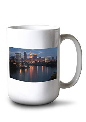 Lantern Press Cleveland, Ohio - Cleveland Skyline at Dusk - Photograph A-92983 (15oz White Ceramic Mug)