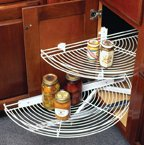 Half Moon Lazy Susans, TOP, One Wire Shelf, No Pull Out, 24-1/2