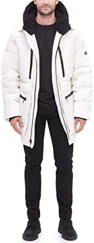 DKNY mens Ultra Loft Full Length Quilted Parka With Sherpa Lined Hood