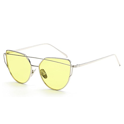 Quceyu Unisex Cat Eye Fashion Metal Frame Sunglasses Female and Men PC Mirror Lens UV Protection Sunglasses (Silver/Yellow)