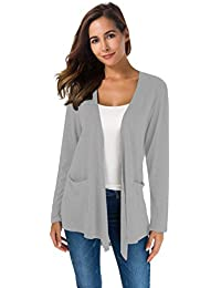 2e4a432e31e Women s Loose Casual Long Sleeved Open Front Breathable Cardigans with  Pocket