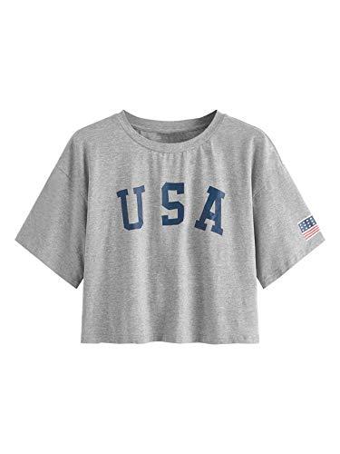 (SweatyRocks Women's Letter Print Crop Tops Summer Short Sleeve T-Shirt Light Grey Medium)