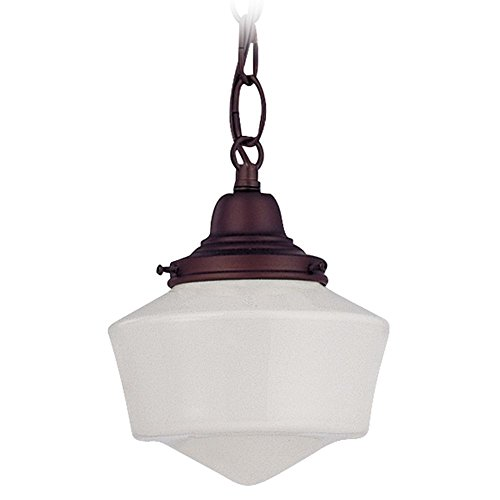 Bronze 6 Inch Hanging Schoolhouse Mini Pendant Light with Chain in Nuevelle Bronze Finish and Milk Glass Shade