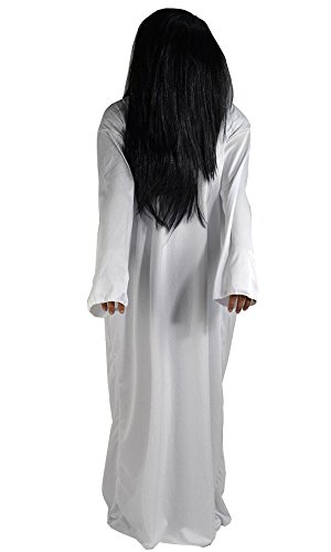 Sadako Costume ([Halloween costumes] 2 point set wig one-piece ghost Sadako cosplay costume fancy dress one size fits all.)