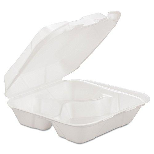 GEN HINGEDM3 8 1/4 x 8 x 3 White 3-Comp Foam Hinged Carryout Container (Case of 200) - 8x8x3 Foam Hinged Container