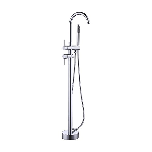 KES Brass Freestanding Bathtub Faucet Floor Mounted Bath Tub Filler Faucets with Hand Held Showe ...