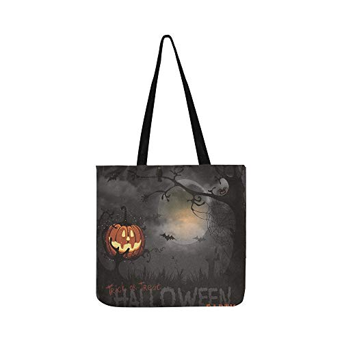 Halloween Night Pumpkin Full Moon Bat Spider Canvas Tote Handbag Shoulder Bag Crossbody Bags Purses For Men And Women Shopping Tote ()
