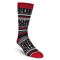 K. Bell Socks Men's Dots and Stripes Crew, Black, Shoesize 6 to 12