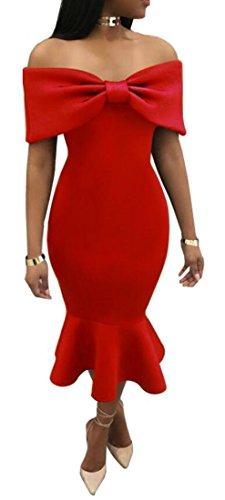 Fuori Vestito Solido Arruffate Rosso Guaina Lungo Donne Bottino Arco spalla Cromoncent 68qXnCaf