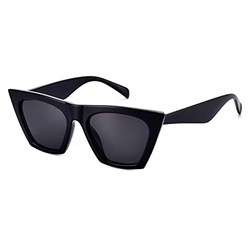 Sunglasses for Women Trendy Square Cateye Cat Eye Black Retro Rectangle Cool Vintage Fashion 90s Cute Funky Aesthetic 2000s l