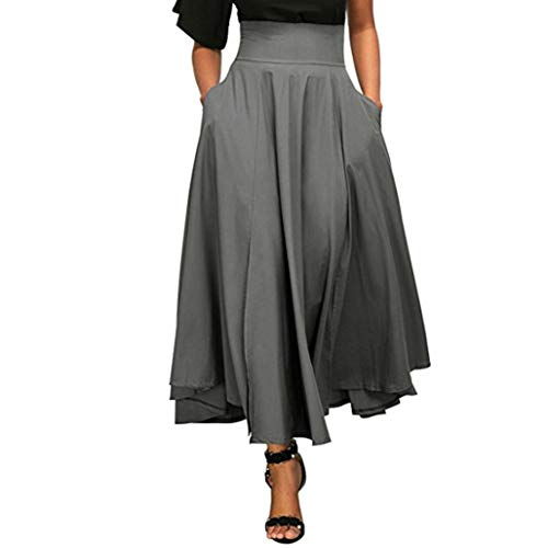 Cotton Corduroy Pleated Front Dress - MOONHOUSE 2018 New Women's High Waist Long Skirt Pleated A Line Swing Skirt Front Slit Belted Maxi Skirt (XLL, Dray Grey)