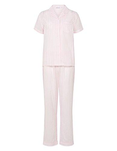 Slenderella PJ7235 Women's Pink Stripe Woven Cotton Pajama Pyjama Set