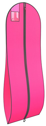 Gusseted Garment Bag - For Prom Dresses and Bridal Wedding Gowns - Travel Folding Loop, ID Window - 72