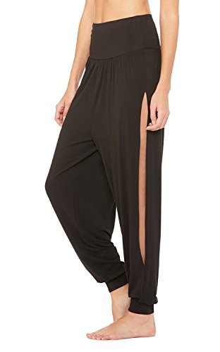(Saodimallsu Womens Harem High Waisted Side Slits Oversized Yoga Long Pants Black)