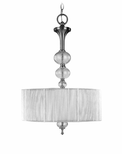 (World Imports 8233-37 Bayonne Collection 3-Light Hanging Inverted Pendant, Brushed Nickel)