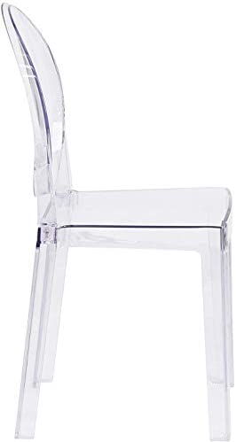Ghost Chair 4PCS Dining Chairs Transparent Makeup Dressing Chair, Ghost Style Dining Side Chair, Modern Chair - Amovible and Stackable (Clear, 4 Piece)