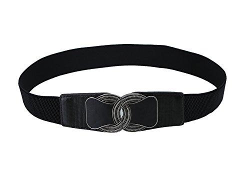 Womens Vintage Wide Elastic Stretch Waist Belt Retro Belt - Buckle Interlocking