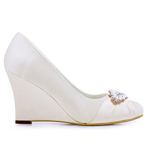 Minishion Womens Classic Almond Toe Wedge High Heel Satin Bridal Wedding Pumps Ivory-9.5cm Heel dx6KgIWi
