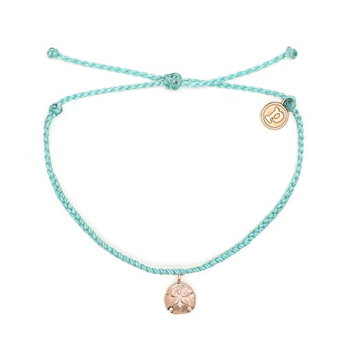 Pura Vida Rose Gold Sand Dollar Seafoam Bracelet – Waterproof, Artisan Handmade, Adjustable, Threaded, Fashion Jewelry for Girls/Women