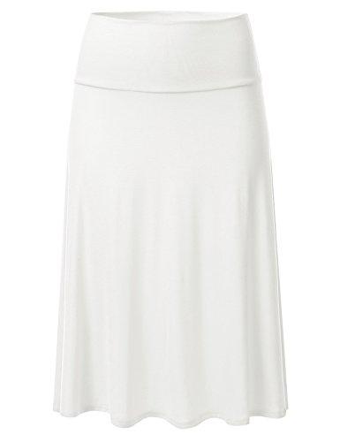 (FLORIA Womens Solid Lightweight Knit Elastic Waist Flared Midi Skirt Ivory 3XL)