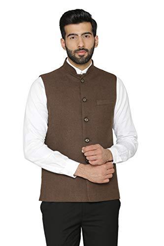 - WINTAGE Men's Tweed Wool Festive and Casual Nehru Jacket Vest Waistcoat : Brown, XXX-Large