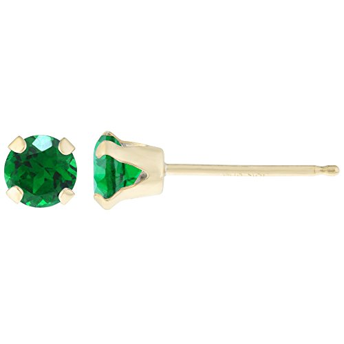 20-CT-Round-3MM-Natural-Green-Emerald-14K-Yellow-Gold-Stud-Earrings