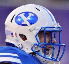 Brigham Young Cougars Full Size Schutt XP Replica Football Helmet Chrome Blue Decal and Mask Gift Cougars Helmet