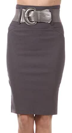 LS6831 - Knee Length High Waist Stretch Pencil Skirt with Wide Belt ( Various Colors & Sizes ) - Charcoal/Large