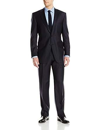 Hart Schaffner Marx Men's 2 Button Chicago Fit Suit with Single Pleat Pant, Navy, 36 Short