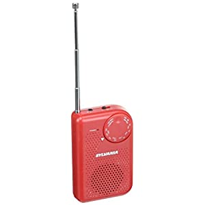 Portable AM/FM Pocket Radio With Built-In Speaker, Red